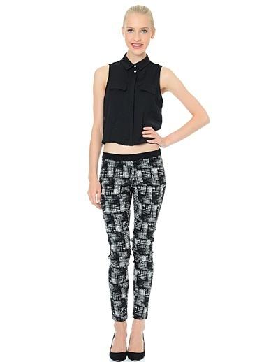 Limon Company Desenli Kadın Pantolon Siyah